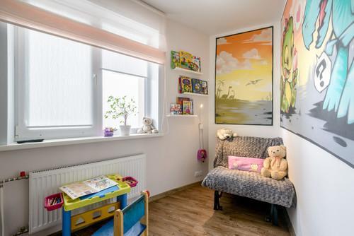 Дизайн квартиры 40 кв м для семьи с ребенком. Вариан.  Детская на месте кухни