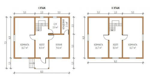 Дом 8 на 6 двухэтажный. Двухэтажные дома