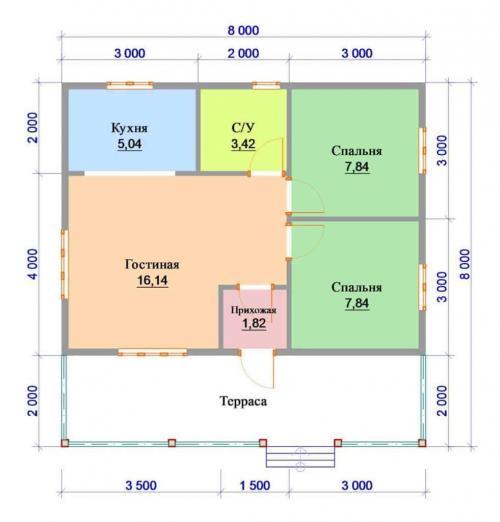 Планировка 8 н.  Проекты домов 8 на 8