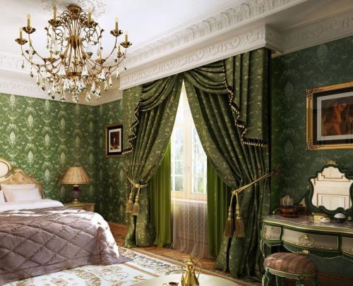 Комната в стиле барокко. Декорирование окон в спальни в стиле барокко