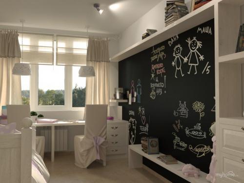 Графитовая стена в детской. Грифельная стена в интерьере детской