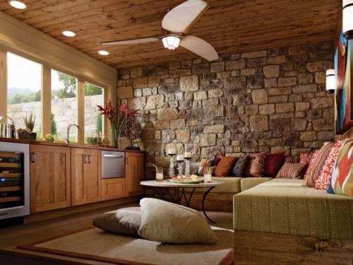 Натуральный камень в интерьере. Декорирование натуральным камнем каминов, полов, стен