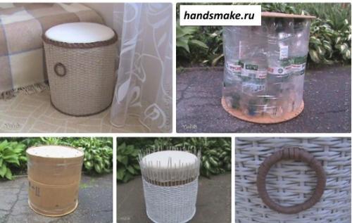 Поделки из пластиковых бутылок своими руками для дома. Пуфик из пластиковых бутылок своими руками