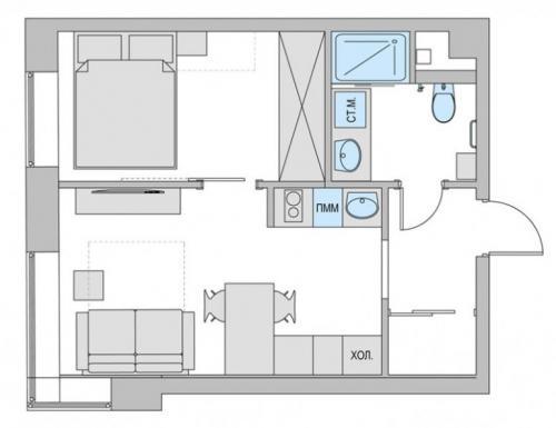 Из однушки двушка 40 кв м. Готовые схемы проектов переделки однокомнатной квартиры в двухкомнатную разной площади