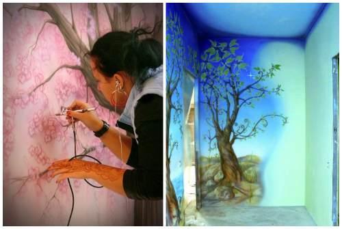Рисунок в квартире на стене. Современные техники росписи