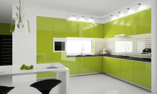 Кухня в коричнево зеленых тонах. Сочетание с другими оттенками в интерьере кухни