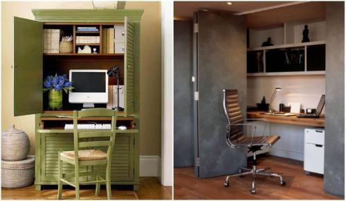 Шкаф с рабочим местом.  Домашний офис в шкафу-купе или кладовке